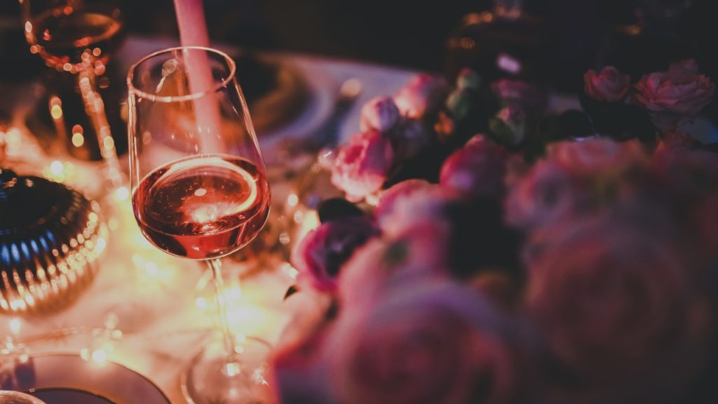 party with wine and rose petals