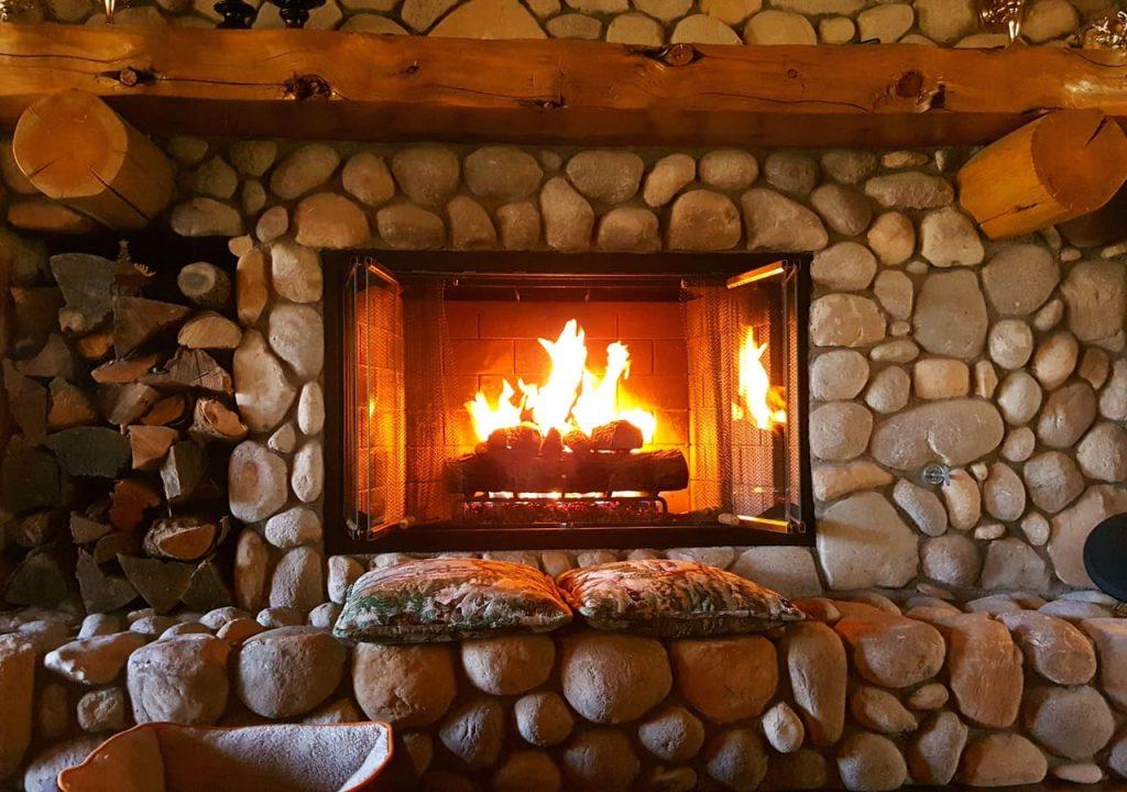 beautiful fireplace burning