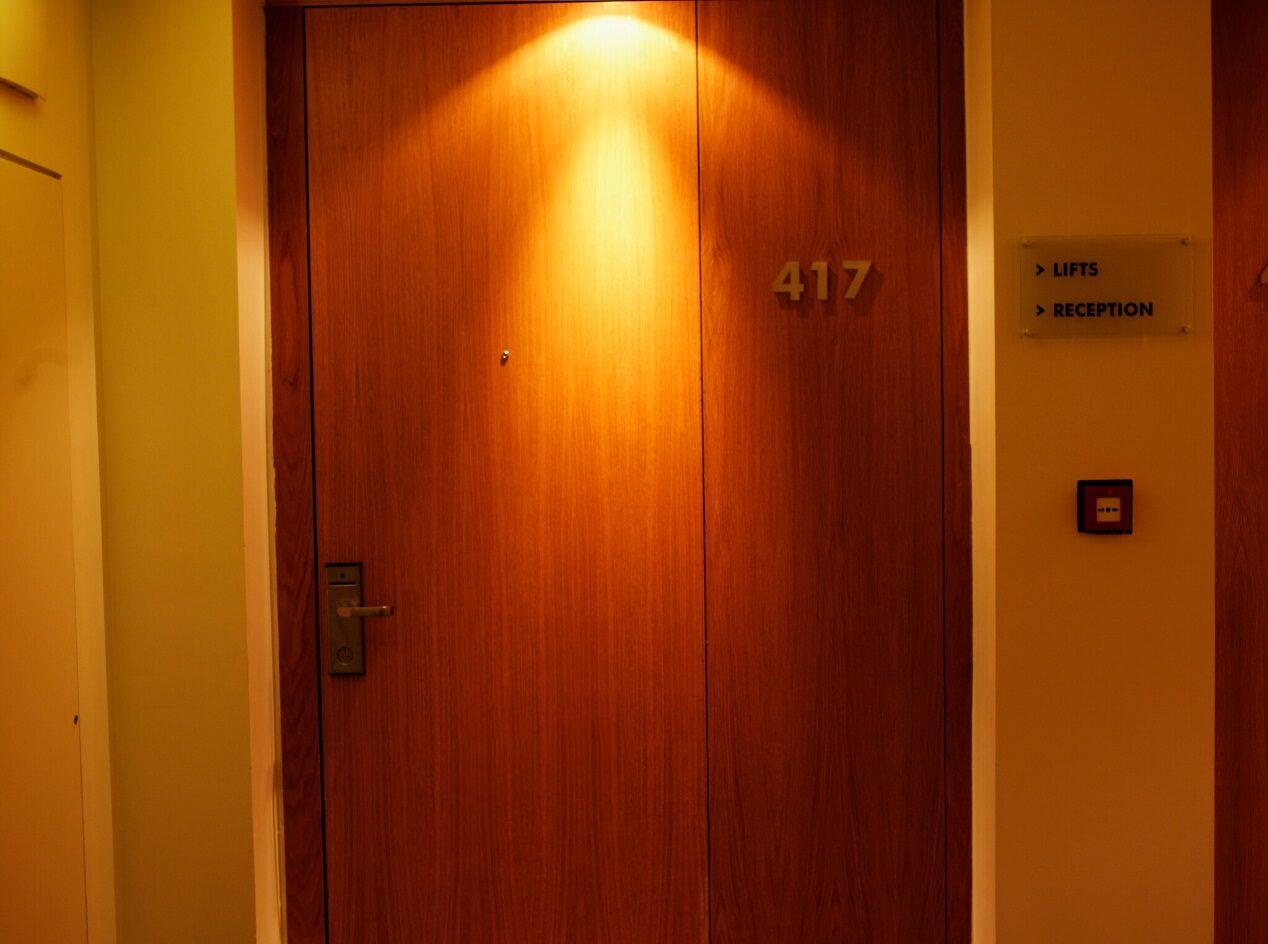 door of hotel room