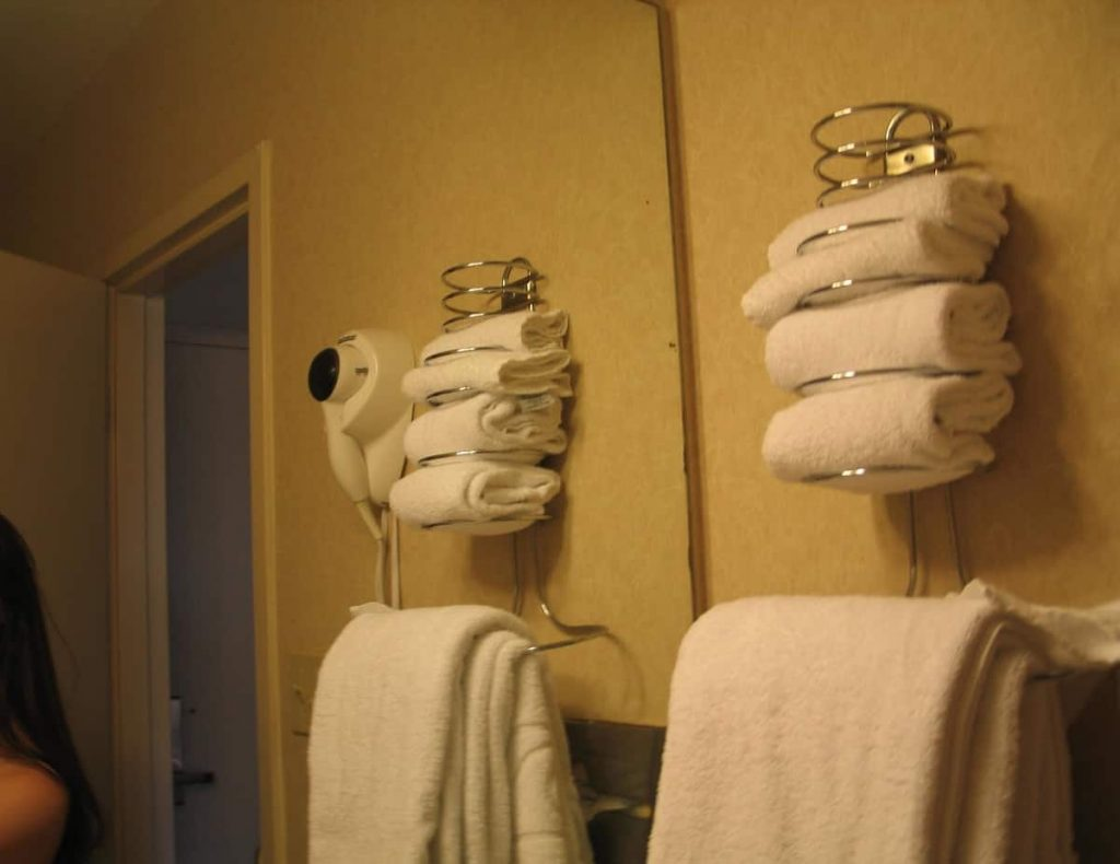 towel rack in hotel bathroom